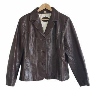 Wilsons Leather notch collar jacket brown size XL